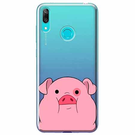 Etui na Huawei P Smart 2019 - Słodka różowa świnka.
