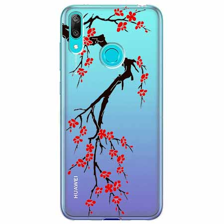 Etui na Huawei Y7 2019 - Krzew kwitnącej wiśni.