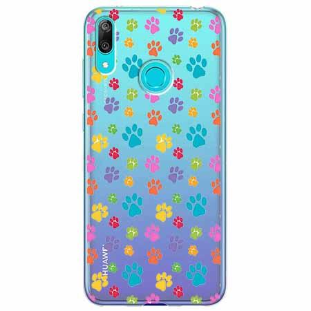 Etui na Huawei Y7 2019 - Kolorowe psie łapki.
