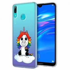 Etui na Huawei Y7 2019 - Tęczowy jednorożec na chmurce.