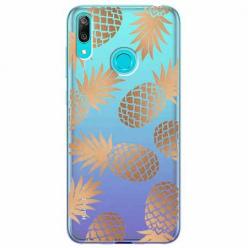 Etui na Huawei Y7 2019 - Złote ananasy.