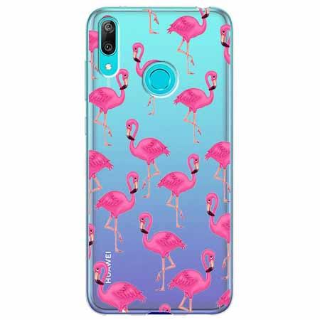 Etui na Huawei Y7 2019 - Różowe flamingi.