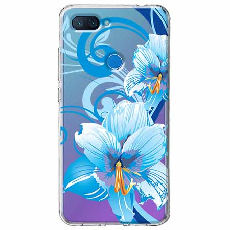 Etui na Xiaomi Mi 8 Lite - Niebieski kwiat północy.
