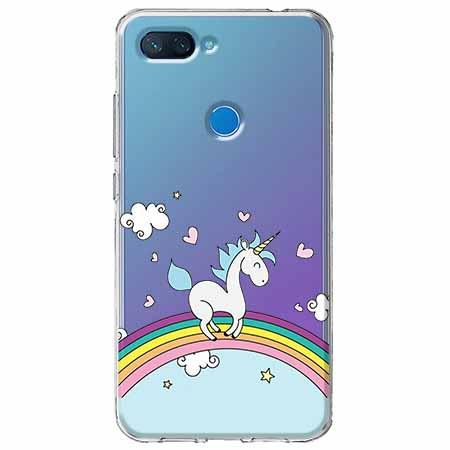 Etui na Xiaomi Mi 8 Lite - Jednorożec na tęczy.