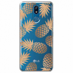 Etui na LG K40 - Złote ananasy.