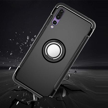 Etui na Huawei P20 Pro - Pancerne Magnet Ring - Czarny.