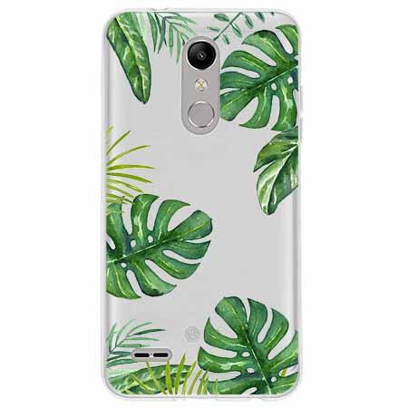 Etui na LG K10 2018 - Zielone liście palmowca