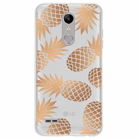 Etui na LG K10 2018 - Złote ananasy.