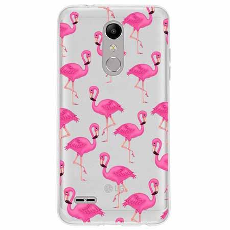Etui na LG K10 2018 - Różowe flamingi.
