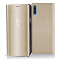 Etui na Samsung Galaxy A70 - Flip Clear View z klapką - Złoty.