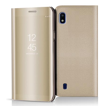 Etui na Samsung Galaxy A10 - Flip Clear View z klapką - Złoty.