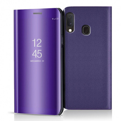 Etui na Samsung Galaxy A20e - Flip Clear View z klapką - Fioletowy.