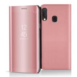 Etui na Samsung Galaxy A20e - Flip Clear View z klapką - Różowy.