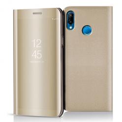 Etui na Huawei P20 Lite - Flip Clear View z klapką - Złoty.
