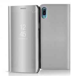 Etui na Huawei Y6 2019 - Flip Clear View z klapką - Srebrny.