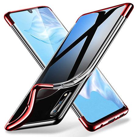 Etui na Huawei P30 Lite - platynowane SLIM - Czerwony