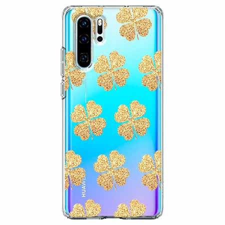 Etui na telefon Huawei P30 Pro - Złote koniczynki.