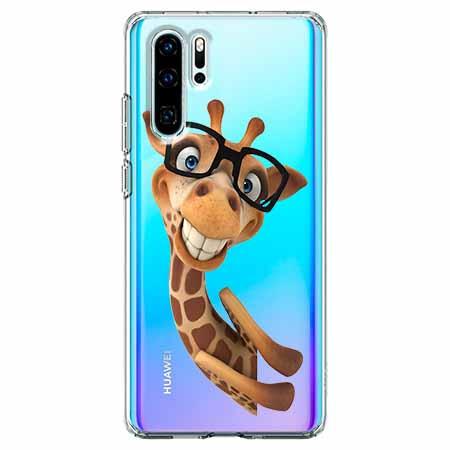 Etui na telefon Huawei P30 Pro - Wesoła żyrafa w okularach.