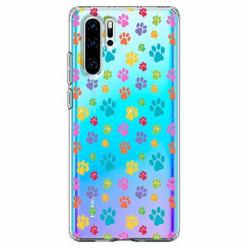 Etui na telefon Huawei P30 Pro - Kolorowe psie łapki.