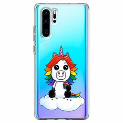 Etui na telefon Huawei P30 Pro - Tęczowy jednorożec na chmurce.