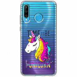 Etui na telefon Huawei P30 Lite - Time to be unicorn - Jednorożec.