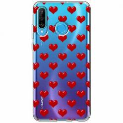Etui na telefon Huawei P30 Lite - Czerwone serduszka.