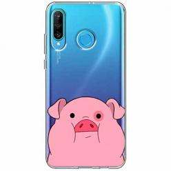 Etui na telefon Huawei P30 Lite - Słodka różowa świnka.