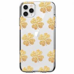 Etui na telefon Apple iPhone 11 Pro Max - Złote koniczynki.