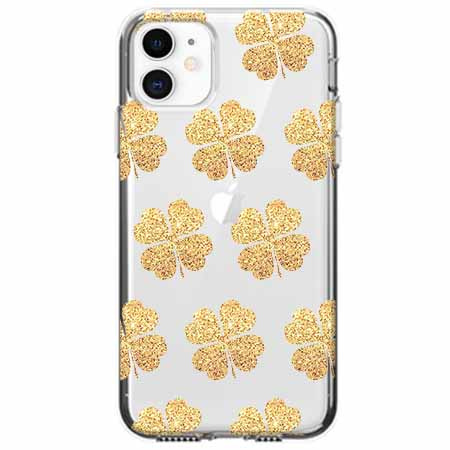 Etui na telefon Apple iPhone 11 - Złote koniczynki.