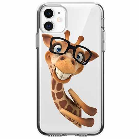 Etui na telefon Apple iPhone 11 - Wesoła żyrafa w okularach.