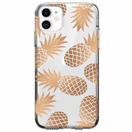 Etui na telefon Apple iPhone 11 - Złote ananasy.