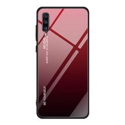 Etui na telefon Samsung Galaxy A70 - Ombre Glass - Czarno/Czerwony.