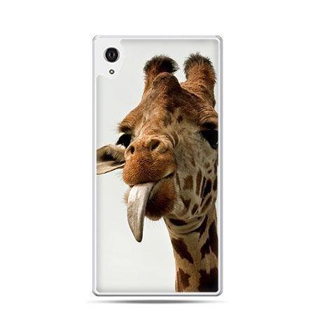 Żyrafa z ęzykiem etui z nadrukiem dla  Xperia Z2 twarde plastikowe
