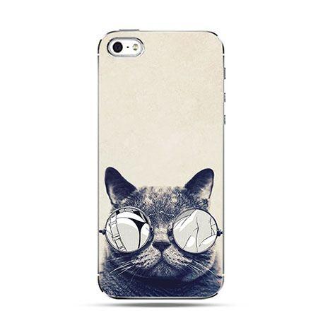 Etui na telefon szary kot w okularach
