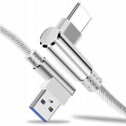 Kabel ładowarka USB Typ - C Fast Charge QC Angle 90° - Biały