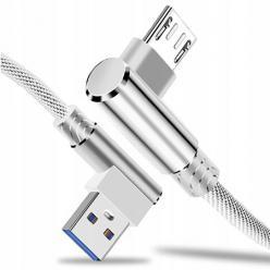 Kabel ładowarka Micro - USB Fast Charge QC Angle 90° - Biały